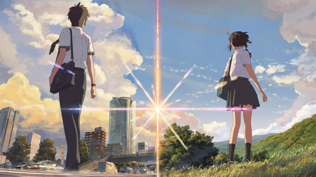 Your Name - Taki e Mitsuha di spalle